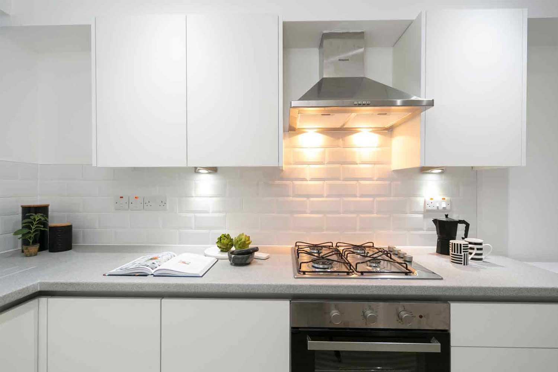 Stylish kitchen with white worktop
