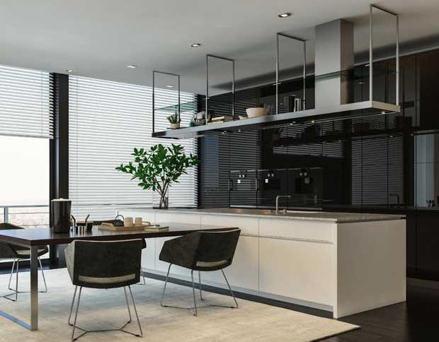 Spacious Bespoke Kitchen setup with kitchen accessories