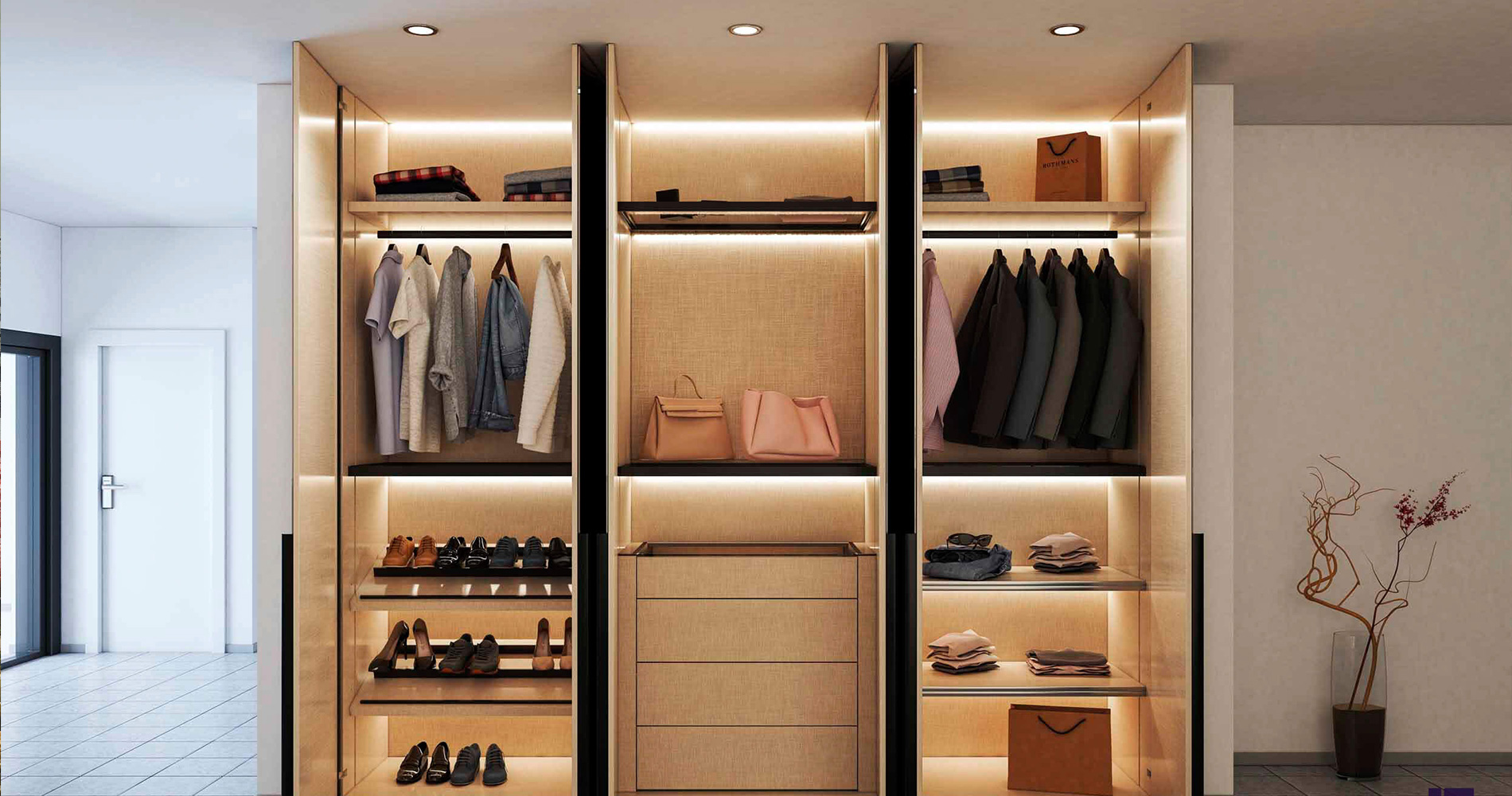 Brown colored  stylish wardrobe installed in bedroom