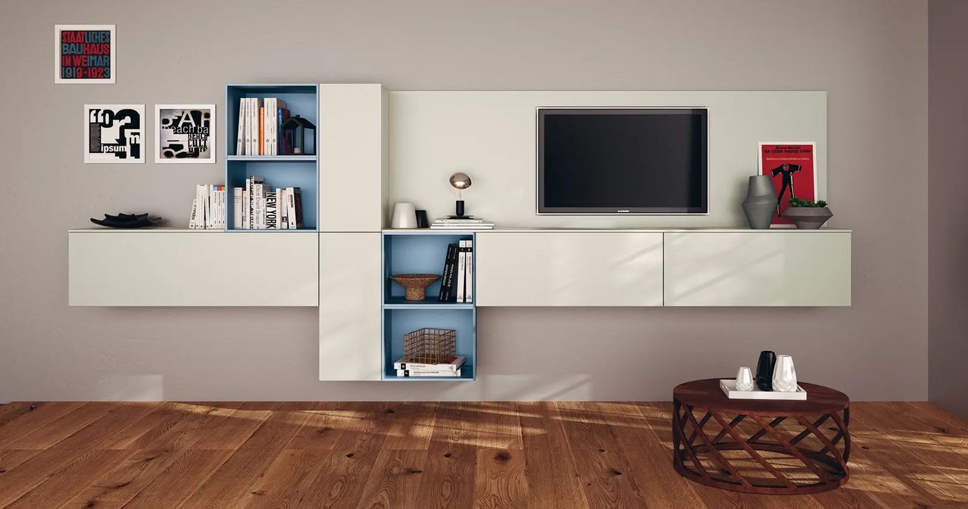 Stylish wall mounted media unit with brown background