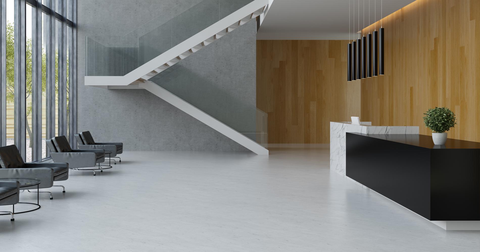 Beautiful reception area with bespoke furniture