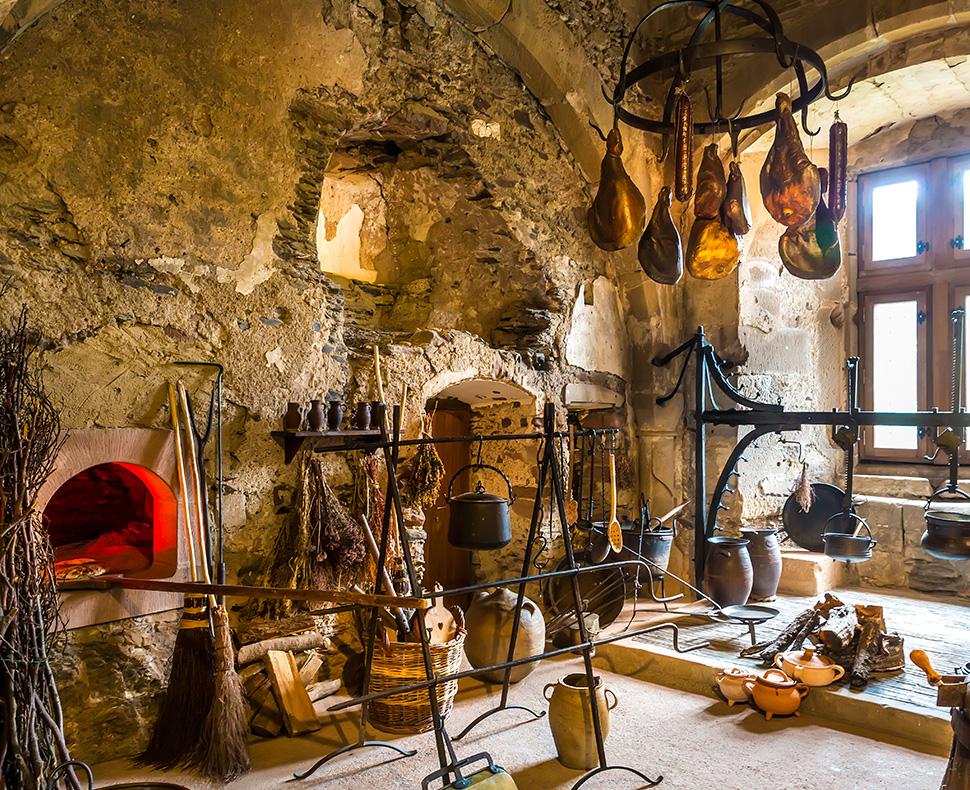 European kitchen design with ancient accessories