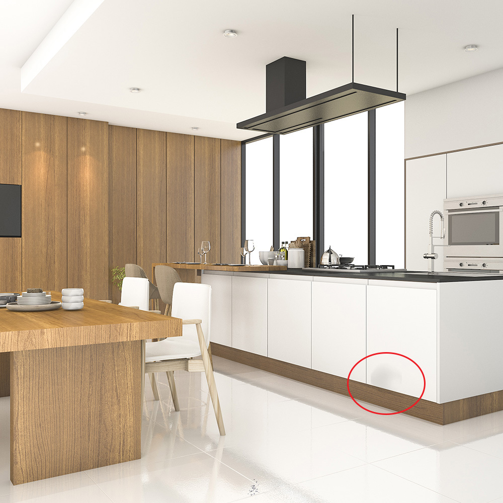 Snagging on white worktop bottom