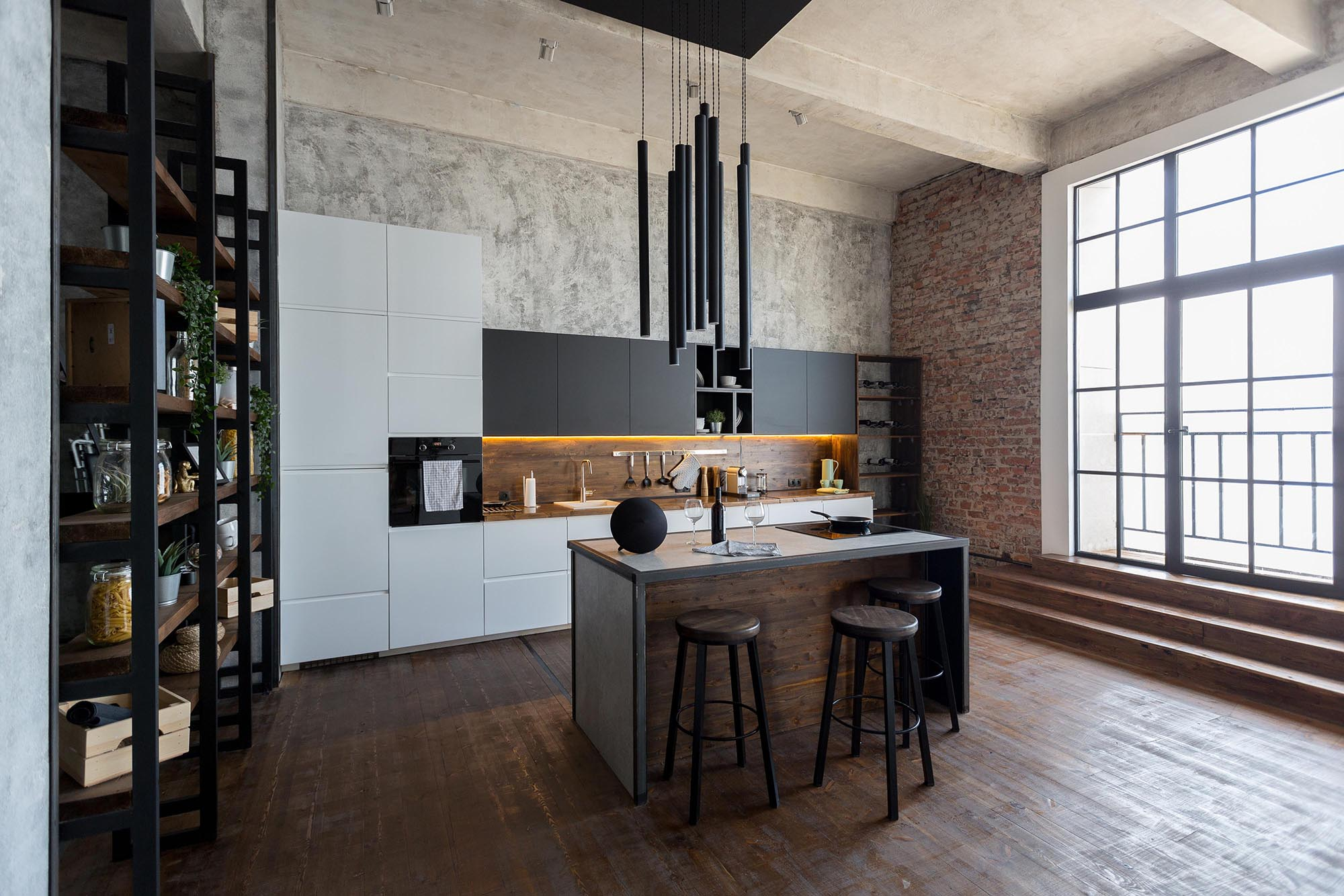 Fully equipped black kitchen design