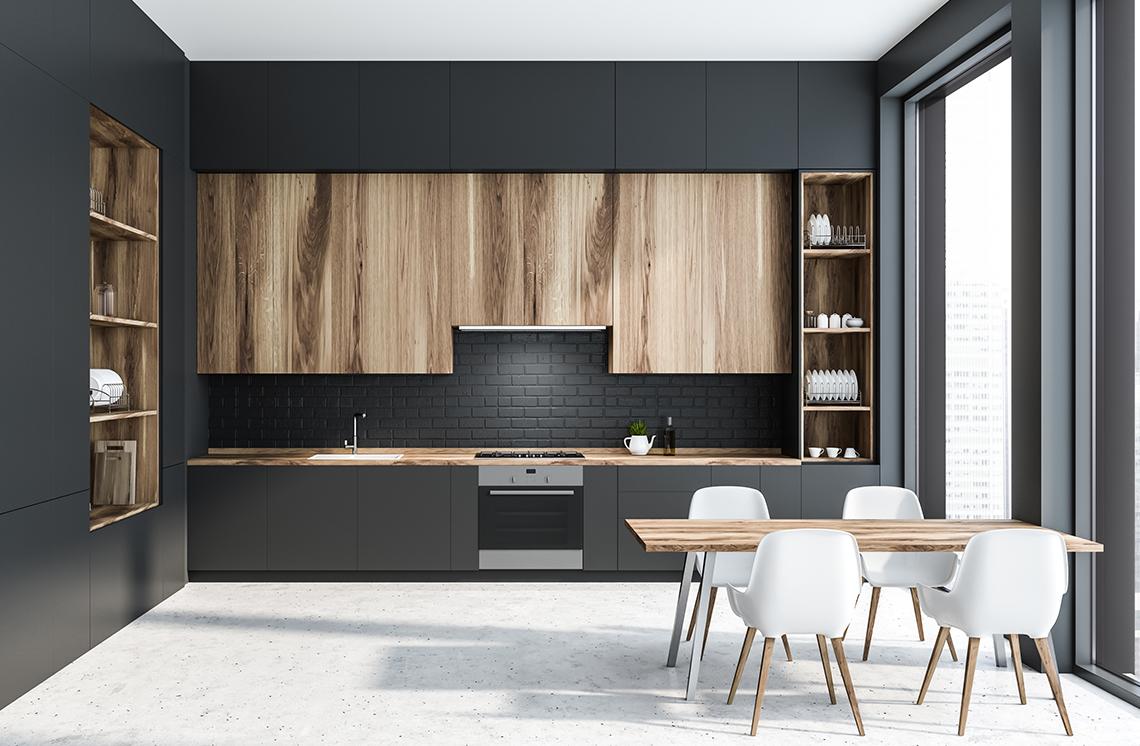 Stylish black brick backsplash with laminate worktop