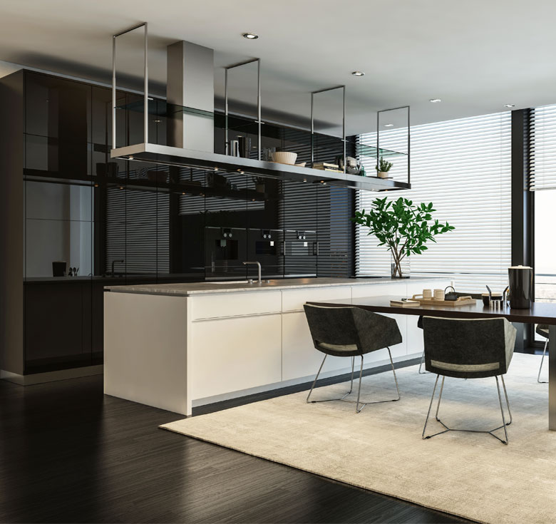 Luxurious kitchen with exotic worktop and breakfast table
