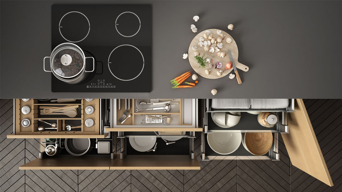 Right kitchen accessories. Get your drawer dividers, spice racks, and other accessories here