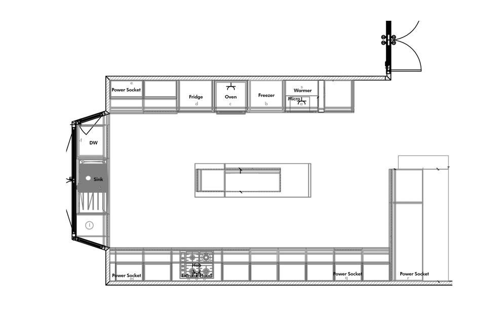 Drawing of 2d kitchen plan