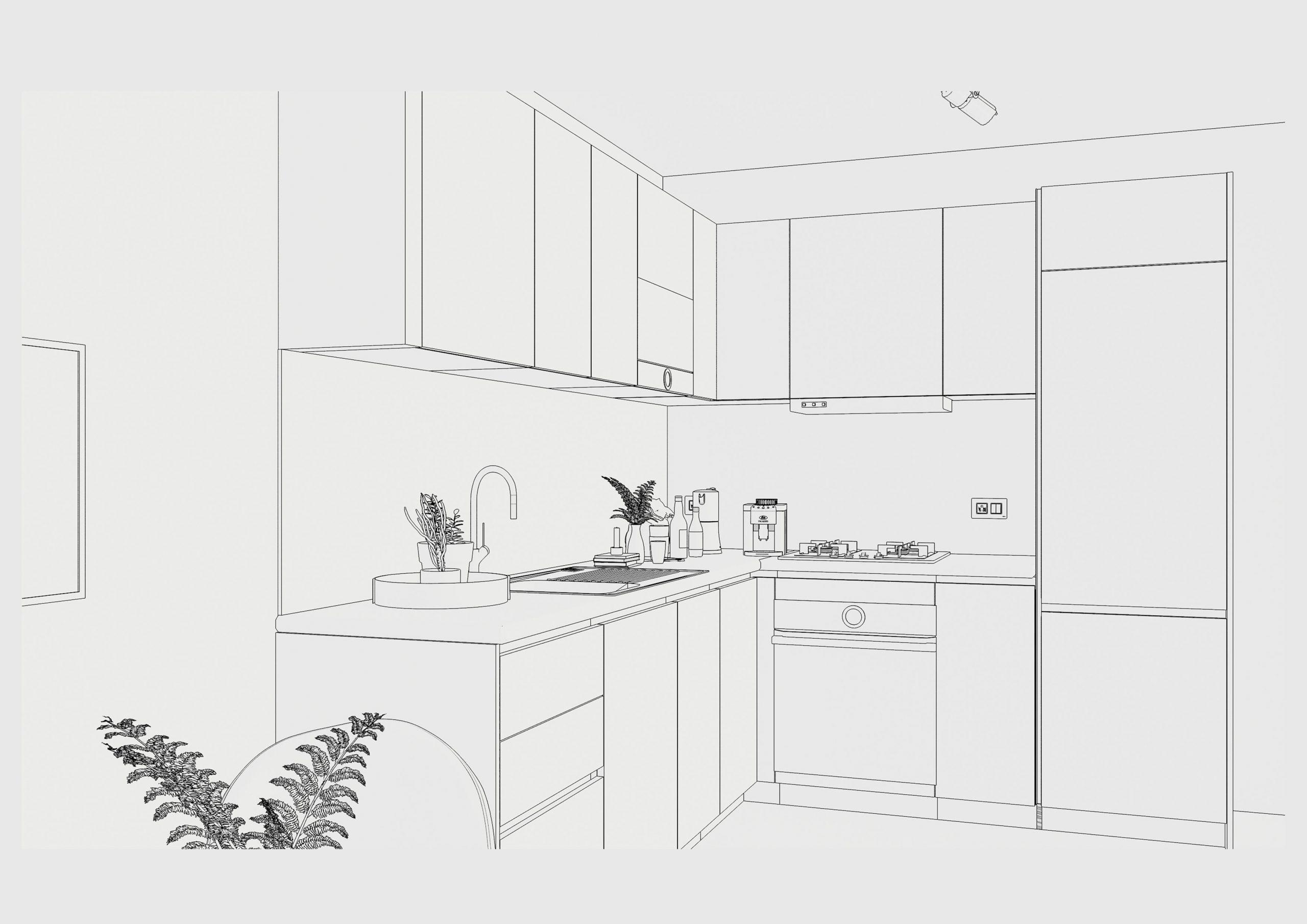 Sketch of final kitchen design