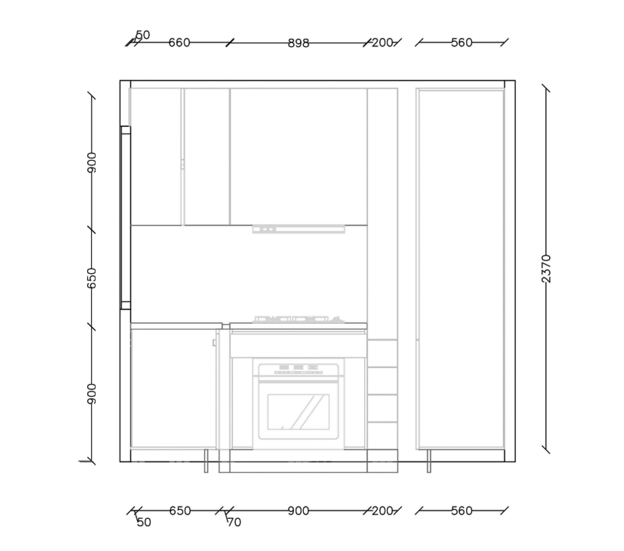 Drawing of kitchen elevation plan