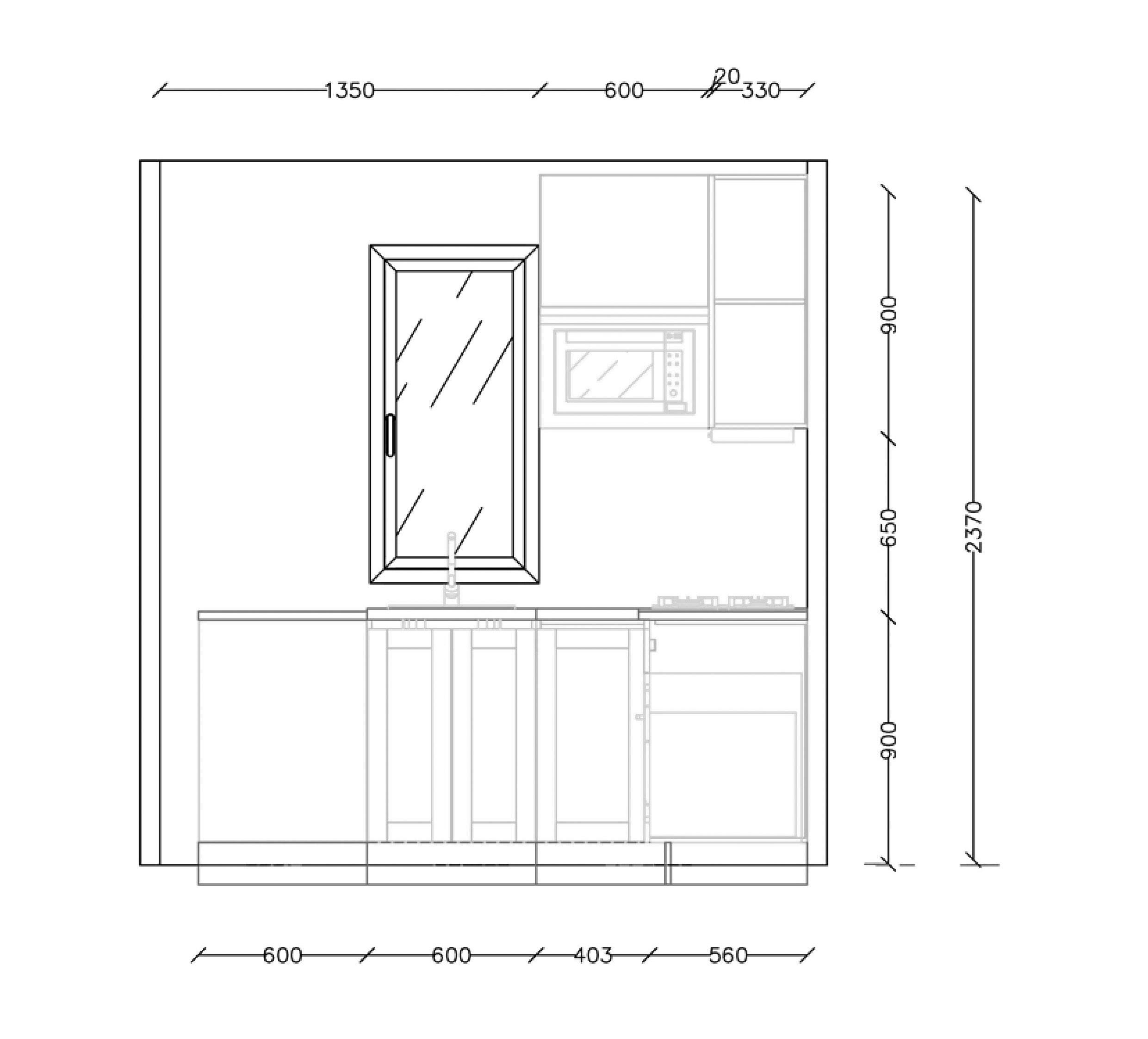 Straight Modular Kitchen Plan