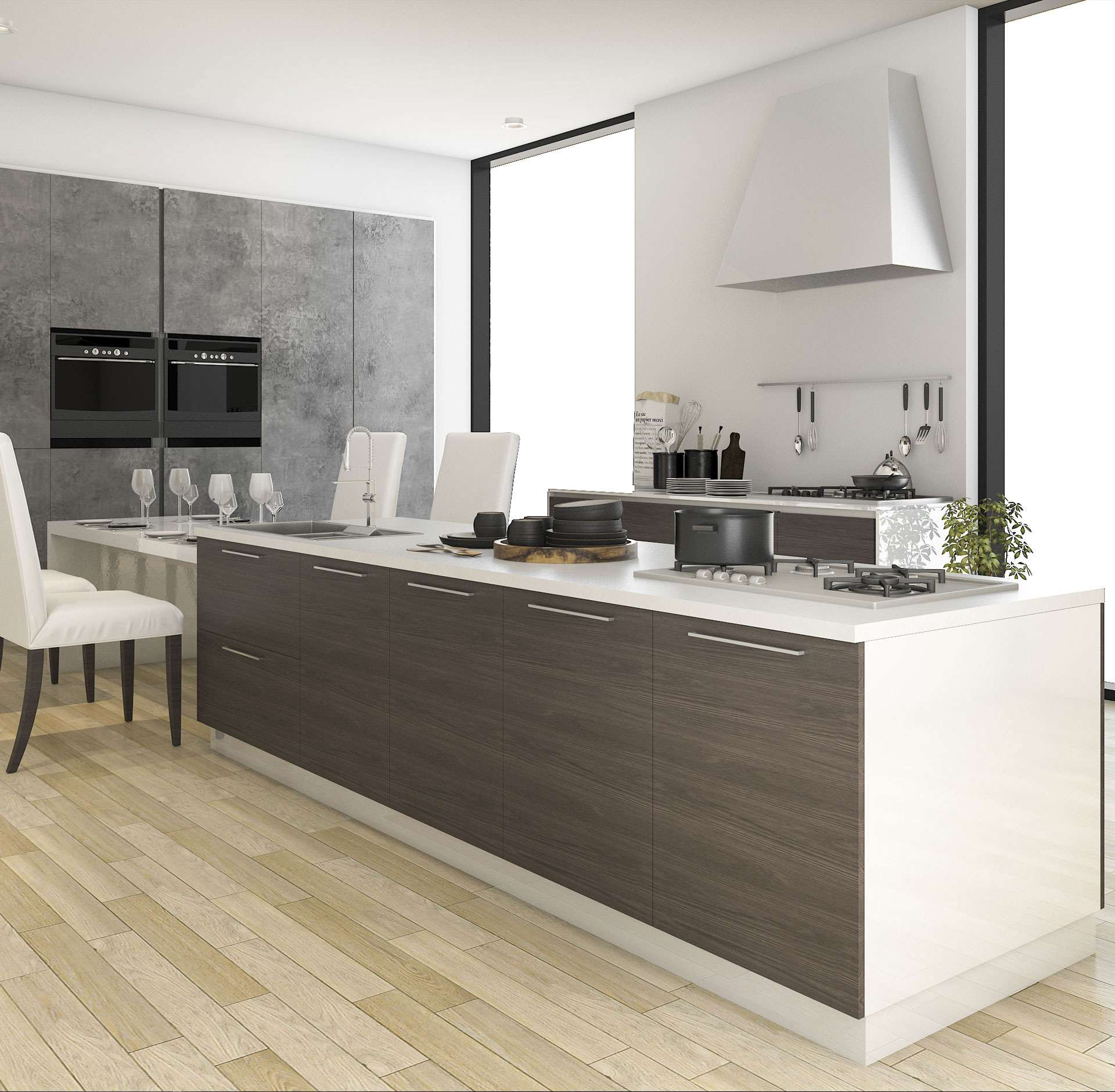 Elegant German kitchen integrates sitting area for your family