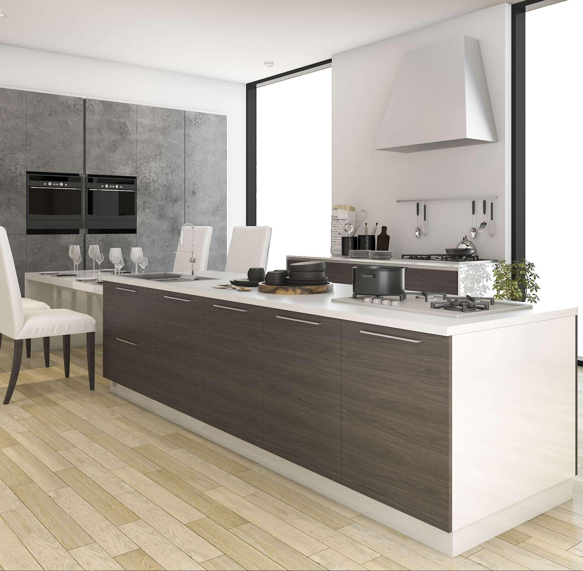 Elegant German kitchen integrates sitting area for your family
