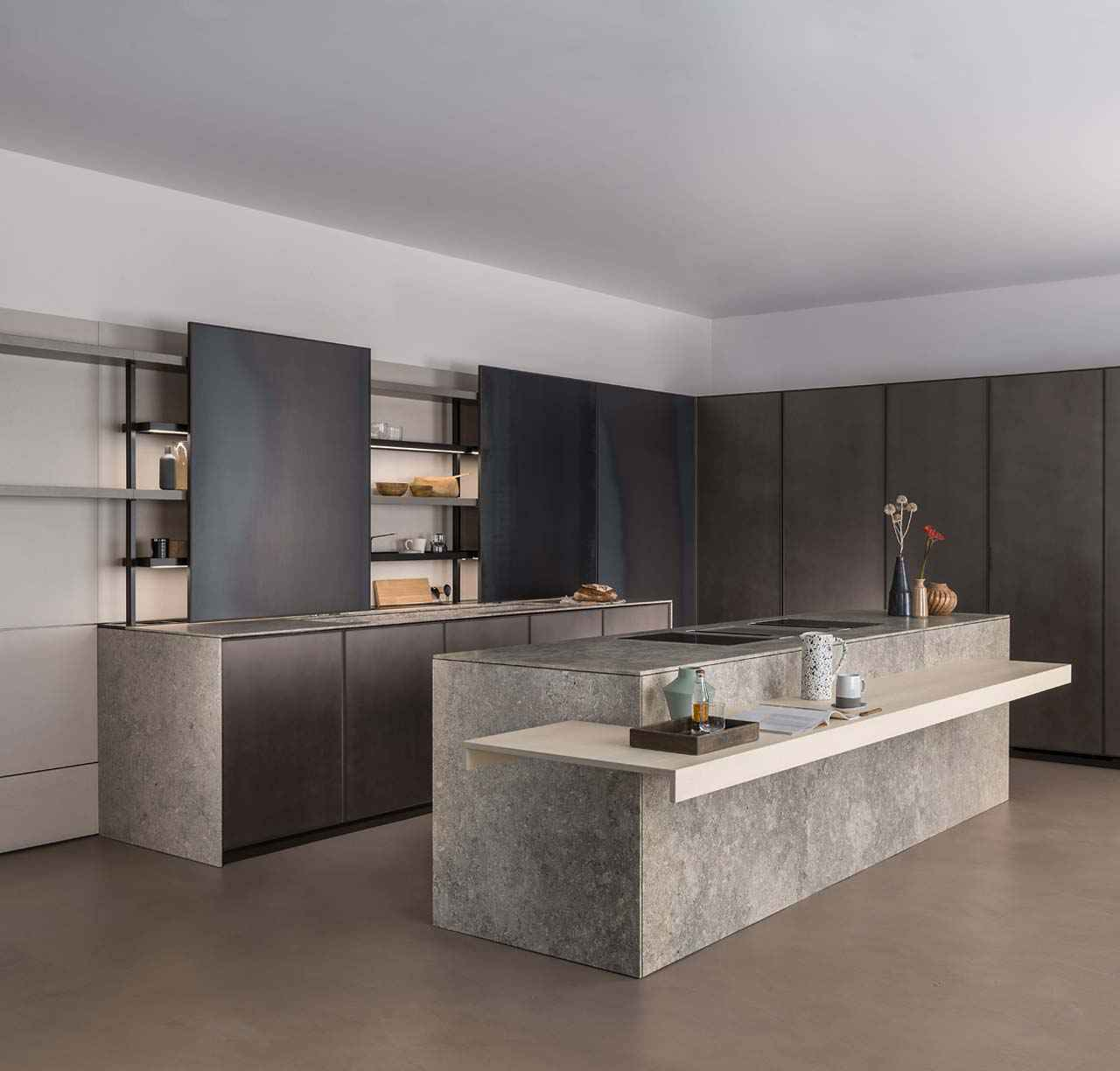 Bespoke custom-designed kitchen with marble worktop