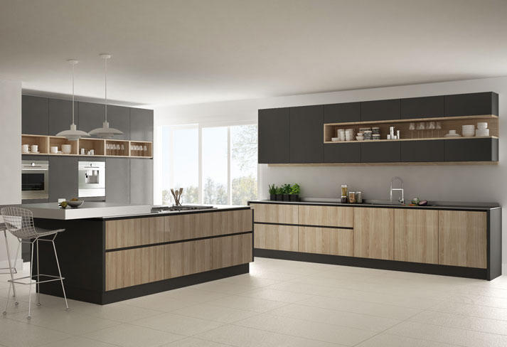 An Italian kitchen with open shelves, drawers and cabinets