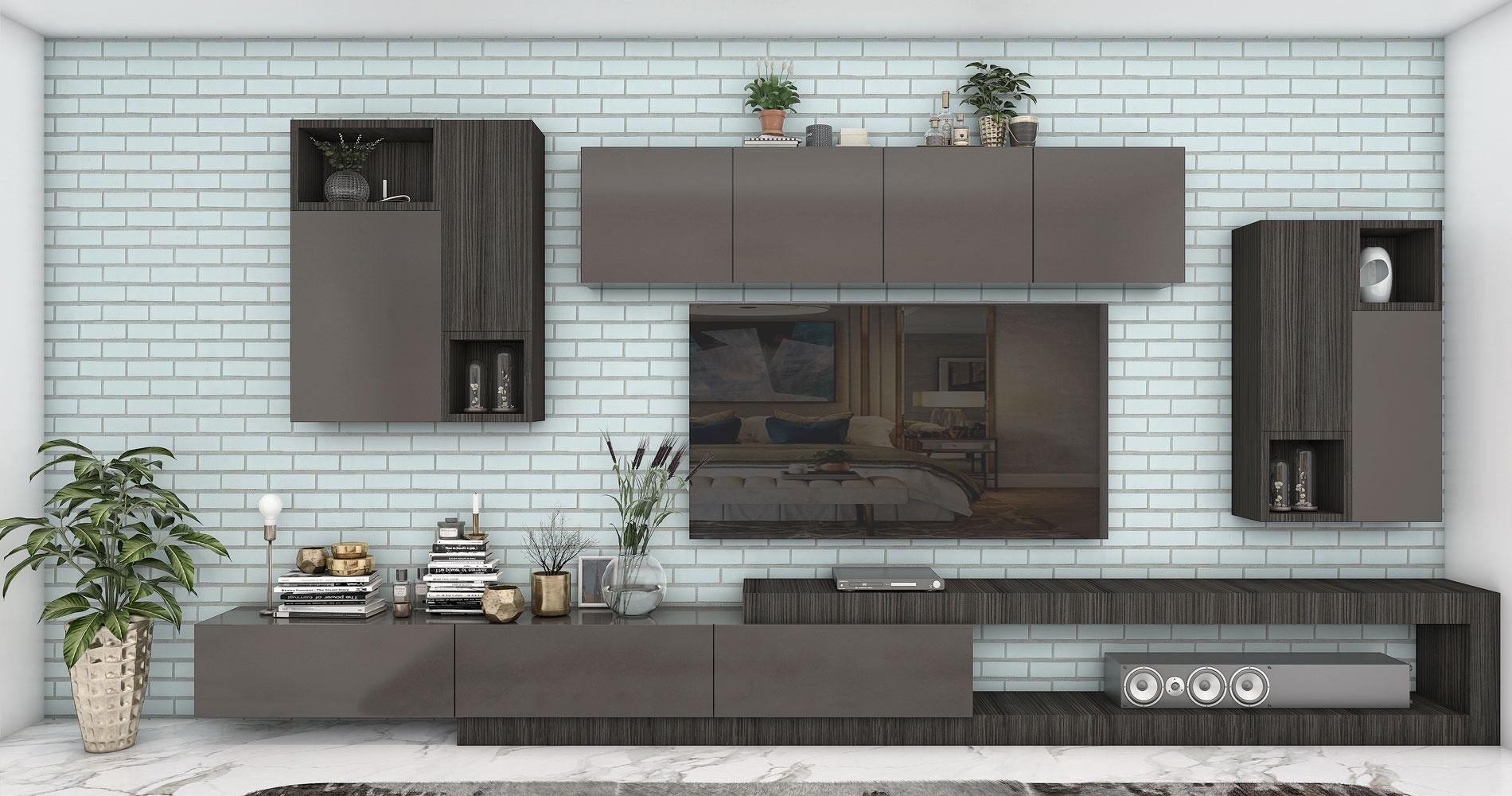 Subtle aqua brick wall cladding