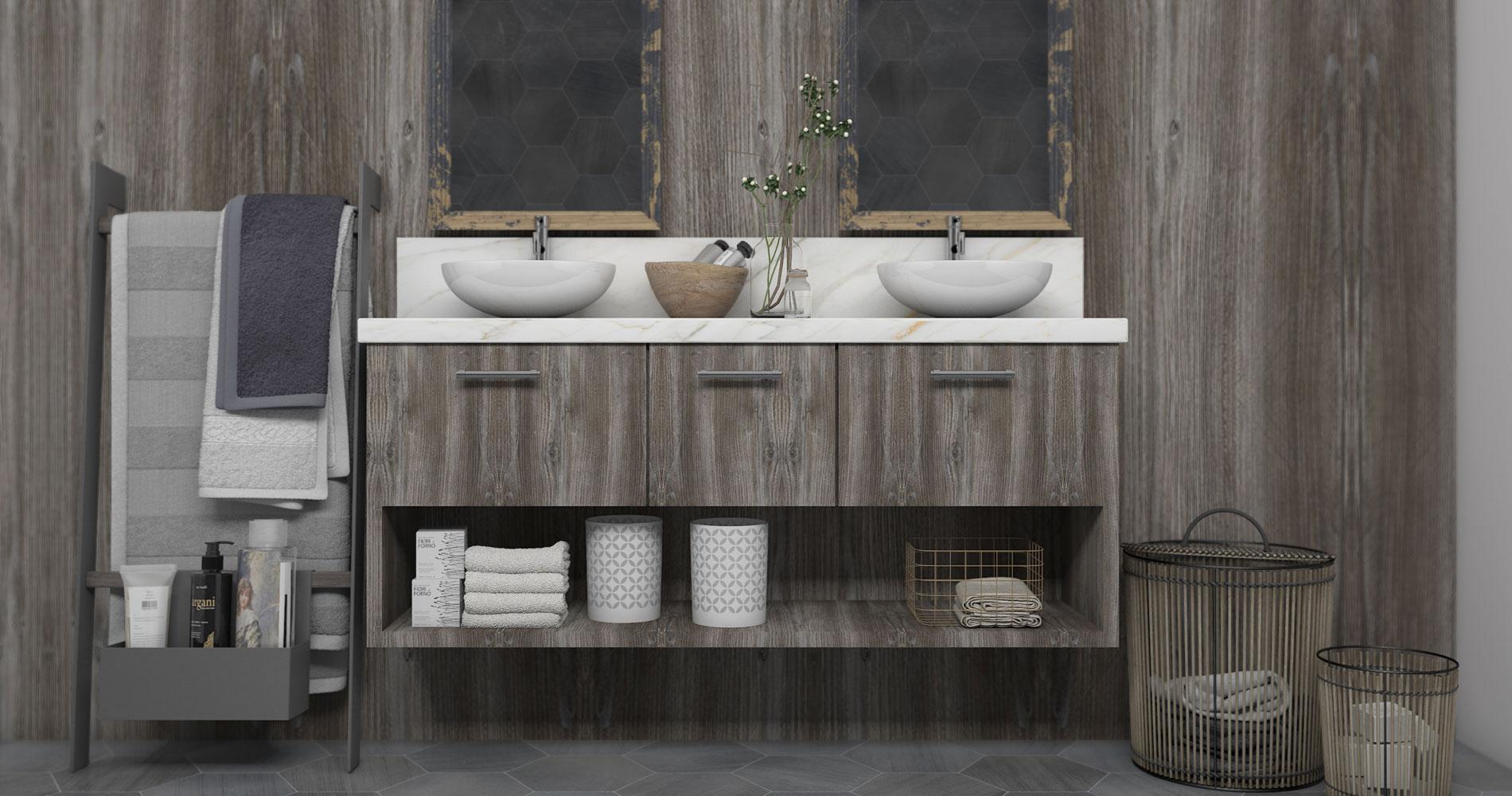 Wood-effect wall cladding for bathroom
