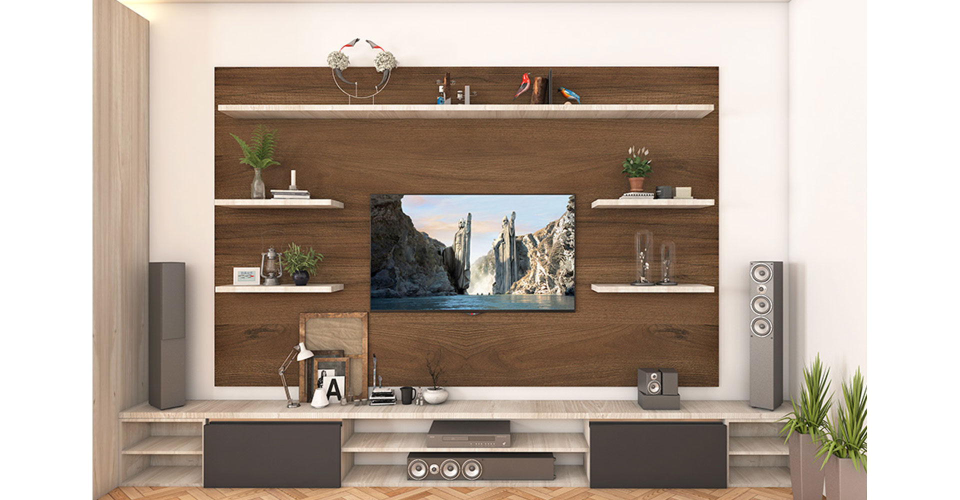 Wooden and traditional media unit