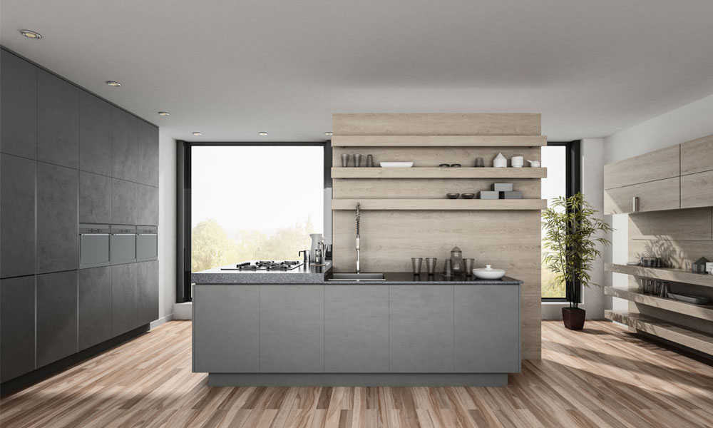Modern and classy kitchen design with added open shelves