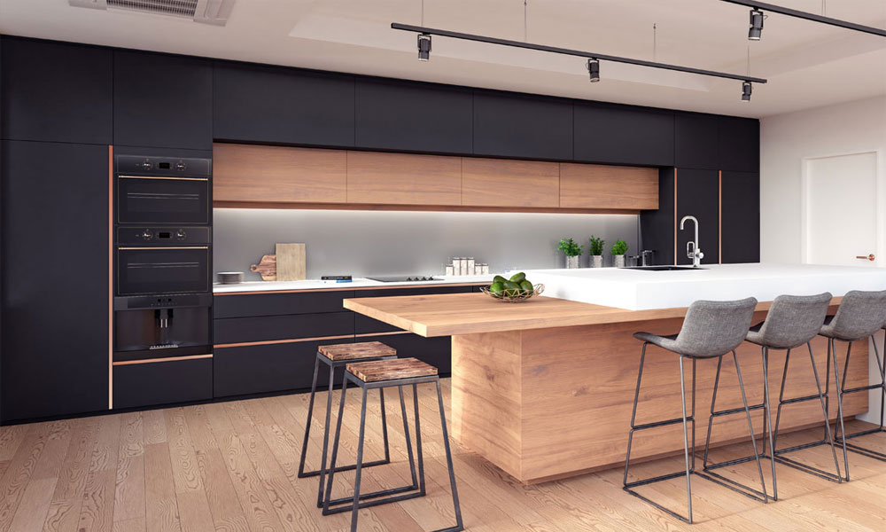 Luxurious kitchen design in dark and rustic hues