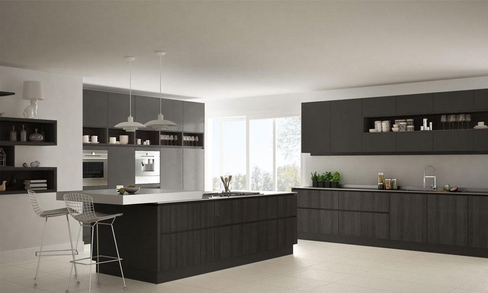 An eye-appealing kitchen design in monochrome wonders