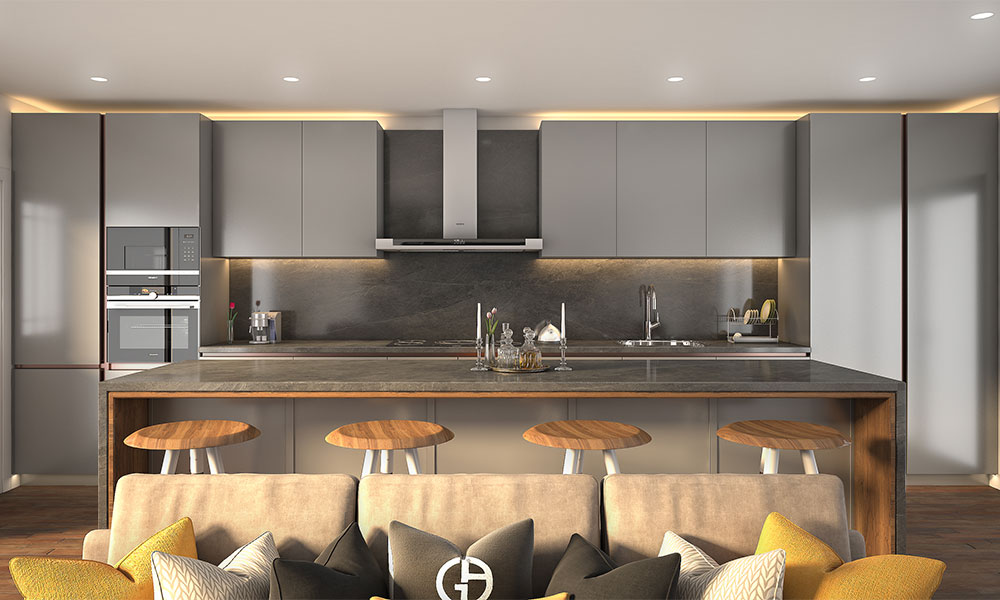 Liven up the kitchen space with cool grey