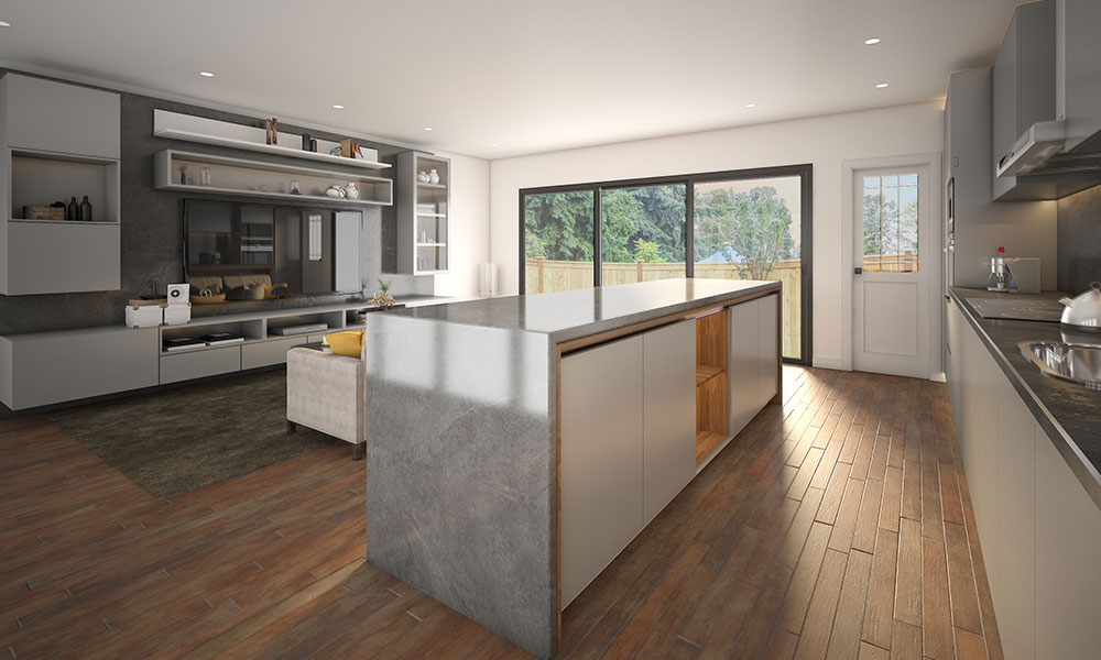 Glossy kitchen design blended with warm wood