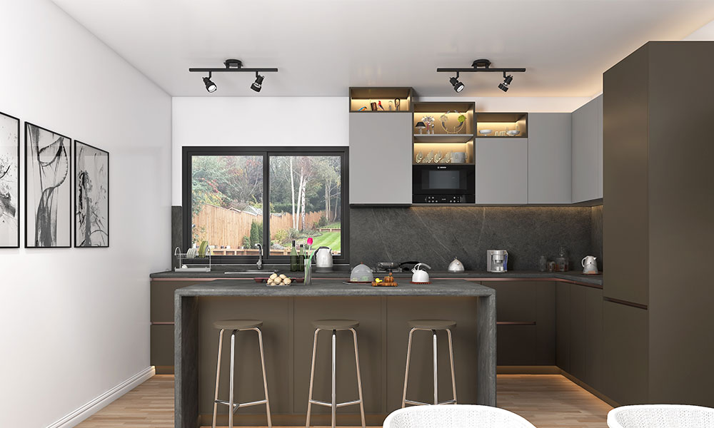 Smooth and seamless kitchen design in the dark tones