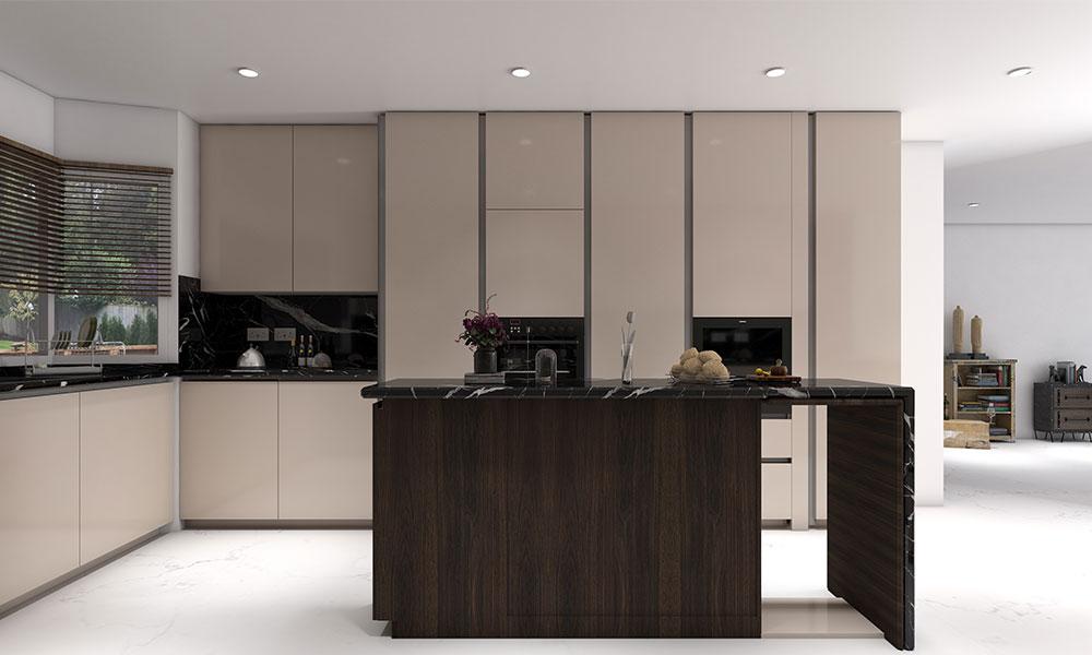 Luxurious kitchen design in pretty pastels